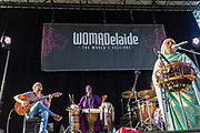 Aziza Brahim (R) from the Western Sahara performs at Womadelaide 2017 Music Festival held between 10 - 13 March 2017 in Adelaide, South Australia