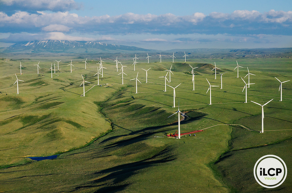 An aerial perspective of the Foote Creek Rim Wind Farm near Arlington, in Carbon County, Wyoming. LightHawk flight with pilot Mike Conway over south-central Wyoming wind farms and landscapes on June 14, 2011. iLCP Tripods in the Sky Wyoming Wind Development.