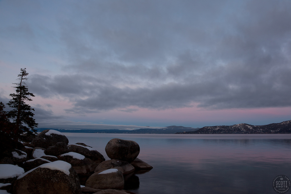 """Tahoe Boulders at Sunrise 16""- These snow covered boulders were photographed at sunrise near Memorial Point, Lake Tahoe."