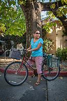 Massage/Hypno Theropist Liza Xavier, with her dog, Buddy, in downtown Calistoga  liza.calistoga@gmail.com
