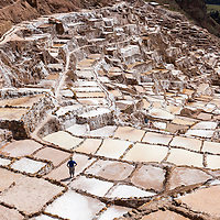 Peru, Maras, Lone worker standing among salt evaporation pools of Salineras in Sacred Valley in the Andes mountains