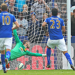 Leicester City's Leonardo Ulloa scores from the spot during the Barclays Premiership match between Leicester City FC and Manchester United FC, at the King Power Stadium, Leicester, 21st September 2014 © Phil Duncan | SportPix.org.uk