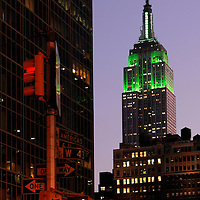 Empire State Building in green, Saint Patrick's Day, Midtown, Manhattan, New York, New York, USA
