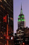 Empire State Building in green, Saint Patrick's Day, Midtown, Manhattan, New York, New York, USA