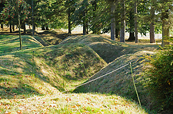 Preserved support trench lines...The Beaumont-Hamel Newfoundland Memorial is a memorial site dedicated to the commemoration of Dominion of Newfoundland forces members who were killed during World War...The preserved battlefield park encompasses the grounds over which the Newfoundland Regiment made their unsuccessful attack on 1 July 1916 during the Battle of the Somme. The Battle of the Somme was the regiment's first major engagement and during an assault that lasted approximately 30 minutes was all but wiped out. Purchased by the people of Newfoundland, the site is the largest battalion memorial on the Western Front and the largest area of the Somme battlefield that has been preserved. Along with preserved trench lines, there are a number of memorials and cemeteries contained within the site.