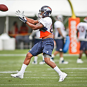 SHOT 7/25/13 9:49:48 AM - Denver Broncos wide receiver Demaryius Thomas #88 makes a catch as he runs through drills during opening day of the team's training camp July 25, 2013 at Dove Valley in Englewood, Co.  (Photo by Marc Piscotty / © 2013)