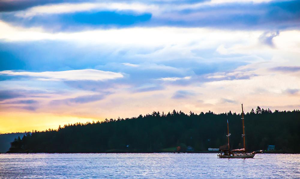 On Deck San Juan Island Archipelago Sunset Sailboat, looking toward the meadow.