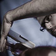 04/17/11 Philadelphia PA: Scissor Candy Open Chair #9 guest Stylist Max Ariel of American Mortals hair salon in Philadelphia, PA working on Summer Steele hair during open chair #9 Sunday night April 17, 2011 at National Mechanics in Philadelphia Pennsylvania...Special to Monsterphoto/SAQUAN STIMPSON..http://www.monsterphotoiso.com.http://www.scissorcandy.com/