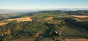 Aerial view over Cristom estate vineyards, Eola-Amity Hills, Willamette Valley, Oregon