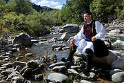 Haralampos Dimou relaxing by Aoos river in Vovousa. He is the son of Haralampos Dimou and although he doesn't live permanently in the village any more, he built a house by the river which he often visits, he is a keen dancer of traditional dances and very knowledgeable of the local history and traditions.