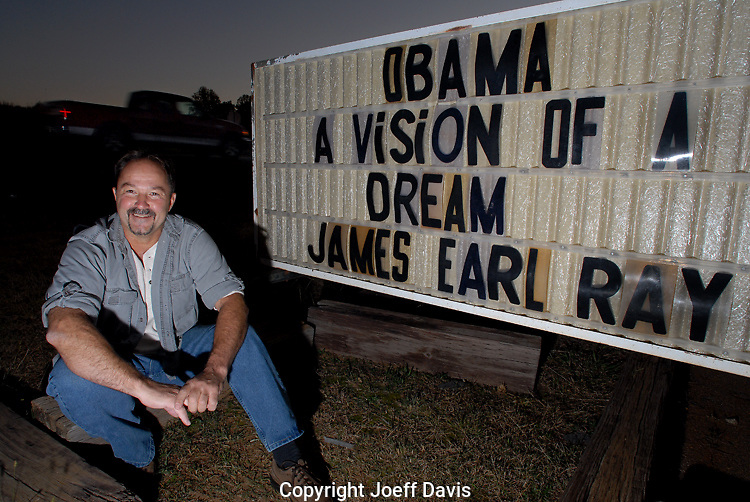 """Pat Lanzo sits in front of the sign outside his """"Peach Bar"""" in Paulding County, Georgia which he owns the day after the 2008 election in which Barack Obama was elected president of the United States.  Lanzo claims he is not a racist even though he constantly uses the word """"nigger"""" on the sign in front of  his bar which he calls the  """"Original Klan Bar"""" on his website. """"The minute someone says the N-word, you're labeled racist,"""" he explains."""