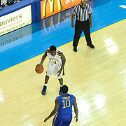 Drexel Guard Frantz Massenat (4) looks to pass the ball in the second half of a NCAA regular season Colonial Athletic Association conference game between Delaware and Drexel Sunday, Feb 23, 2014 at The Bob Carpenter Sports Convocation Center in Newark Delaware.