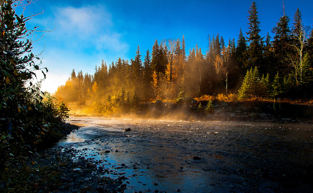 Early morning mist on Two Medicine Creek. Glacier National Park, Montana.