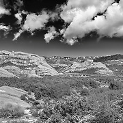 Mormon Rocks - Elevated North View After Snow Dusting - HDR - Infrared Black & White