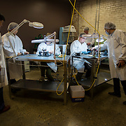 """DETROIT, MI - OCTOBER, 30: Megan LaCroix, 22, of Detroit, MI, left, and Rory Fleck, 29, of Farmington Hills, MI, right, are trained as """"Dial Printers"""" at the Shinola store in Detroit, Michigan, Thursday, October 30, 2014. (Photo by Jeffrey Sauger)"""