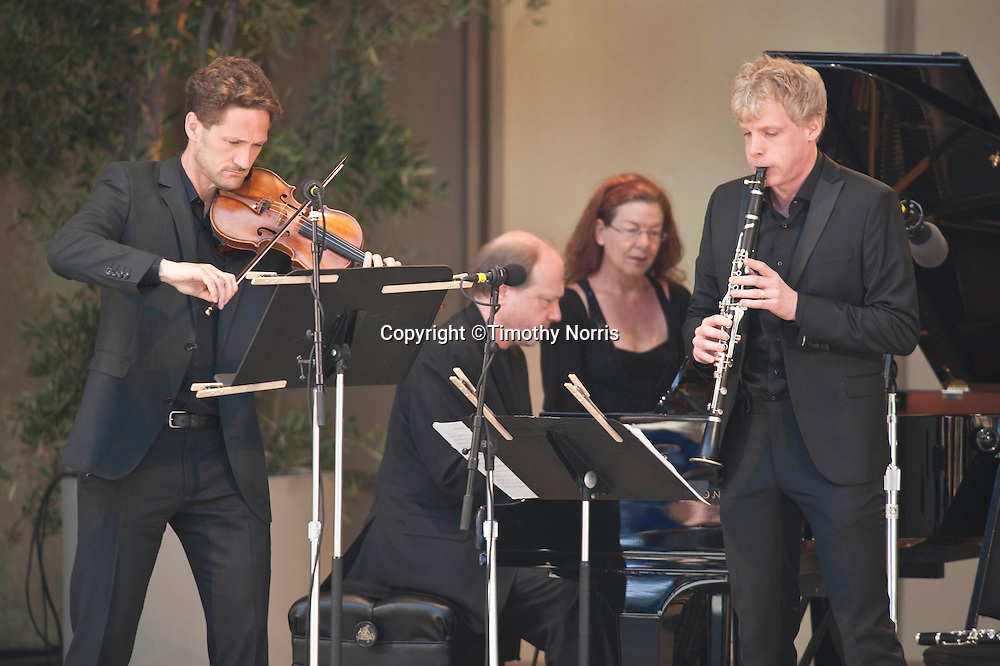 Øyvind Bjorå, Marc-André Hamelin and Martin Fröst perform Béla Bartók's Contrasts at the 66th Ojai Music Festival on June 10, 2012 in Ojai, California.