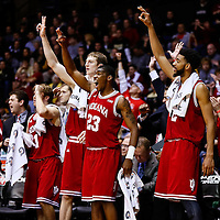 WEST LAFAYETTE, IN - JANUARY 30: Members of the Indiana Hoosiers celebrate in the closing seconds against the Purdue Boilermakers at Mackey Arena on January 30, 2013 in West Lafayette, Indiana. Indiana defeated Purdue 97-60. (Photo by Michael Hickey/Getty Images)