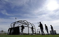 GLENDALE, AZ - FEBRUARY 24:  A general view of White Sox batting practice during a spring training workout on February 24, 2010 at the White Sox training facility at Camelback Ranch in Glendale, Arizona. (Photo by Ron Vesely)