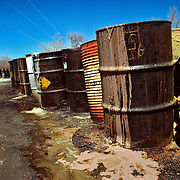 Leaking barrels of Toxic Chemical Waste at the Pollution Abatement Service Site failed disposal firm (P.A.S.) a Superfund site in the early 1980s. Environment. Oswego,  New York Site is one mile from Lake Ontario, one of the Great Lakes.