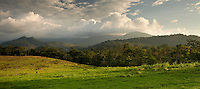 Dramatic light on the Costa Rican landscape as afternoon thunderstorms clear out before sunset.