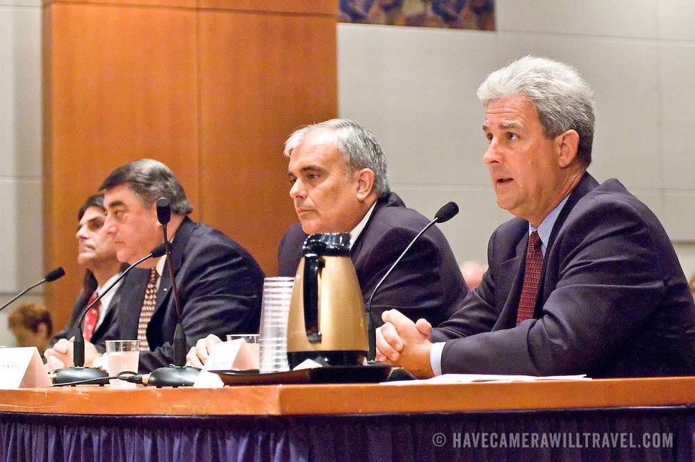 """From left: Jeff Griffith, Former Deputy Director, Air Trafic Control, FAA; Monte Belger, Former Acting Deputy Administrator, FAA; John S. White, former Facility Manager, Air Traffic Control Systems Command Center, FAA; Benedict Sliney, Operations Manager, New York Terminal Radar Approach Control, FAA.Panel: FAA Response on 9/11. The 9/11 Commission's 12th public hearing on """"The 9/11 Plot"""" and """"National Crisis Management"""" was held June 16-17, 2004, in Washington, DC."""