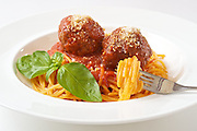 Classic spaghetti and meatball dish.