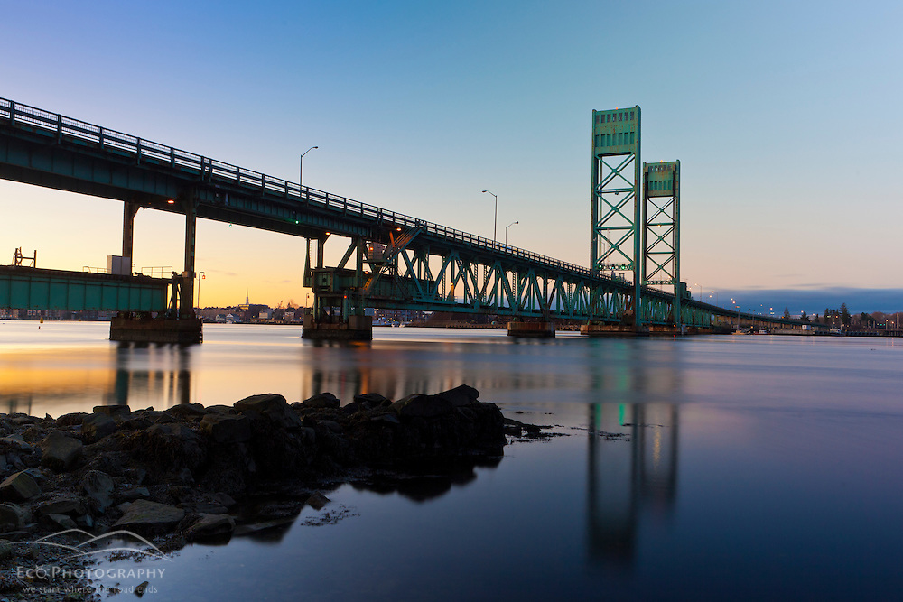 The Sarah Mildred Long Bridge over the Pisctaqua River in Portsmouth, New Hampshire and Kittery, Maine.