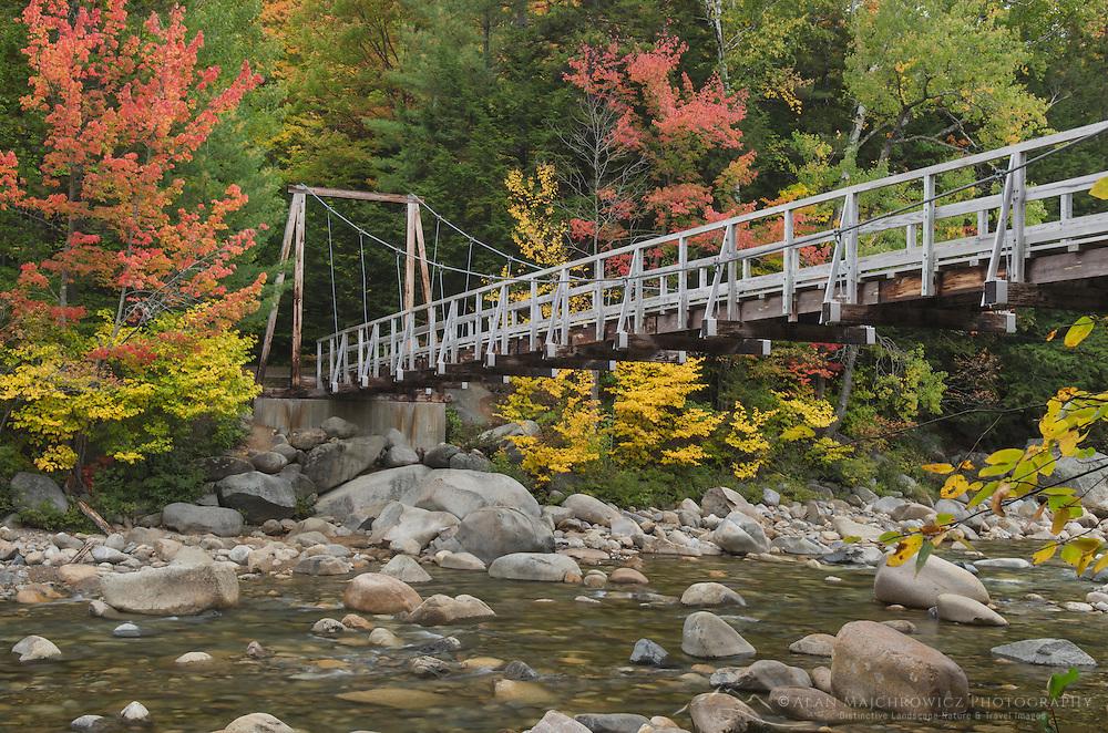 Suspension Bridge  over East Branch Pemigewasset River, White Mountains New Hampshire