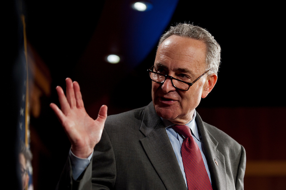 Senator CHUCK SCHUMER (D-NY), speaks to the press after the Senate Judiciary Committee voted 10-8 along party lines in favor for the Respect for Marriage Act, a bill to repeal the Clinton era Defense of Marriage Act law.