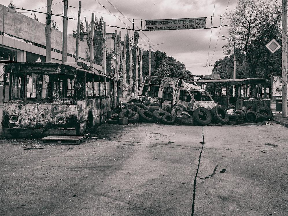 14 May 2014 - Ukraine - Kramatorsk - Barricade made of burned tramway in the city of Kramatorsk.