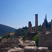 The ruins of the temple of Apollo - the home of the Oracle of Delphi stand prominently even today against the backdrop of the foothills of Mt. Parnassos. The setting  still conveys the difficulty of the journey required to reach this site for those who came to seek the Oracle. Legend has it that Zues sent Eagles, flying in opposite directions to find the center of the world - they met here at this site, making this the center.