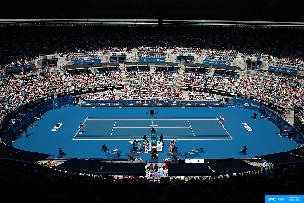 Serena Williams (USA)  on her way to a 6-3 6-7 7-5 victory over Samantha Stosur of Australia in the first round of the Medibank International Sydney Tennis Tournament on January 11, 2009 in Sydney, Australia. Photo Tim Clayton
