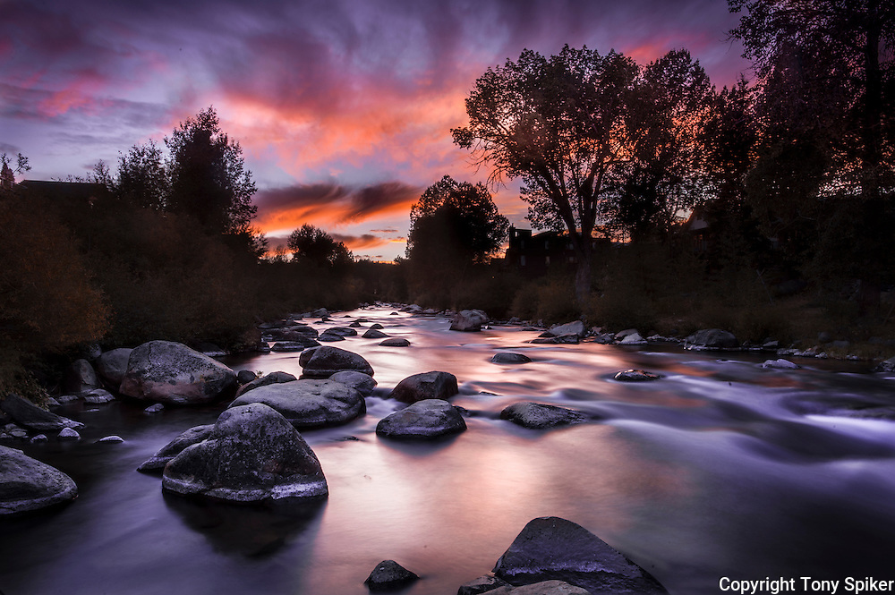 "Truckee River Sunset 1"" - A long exposure photograph of sunset along ... Longexposure"