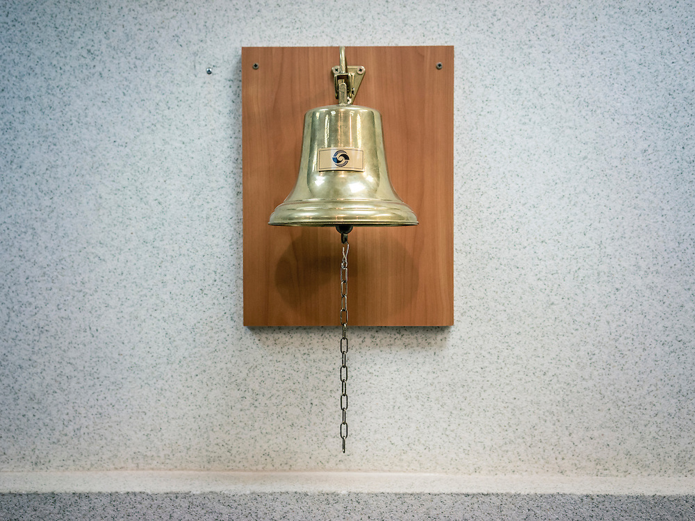 The bell used to ceremonially open and close the Belarus Stock Market on Monday, November 23, 2015 in Minsk, Belarus.