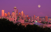 Image of the Seattle Skyline with Space Needle and downtown buildings and moon, Seattle, Washington, Pacific Northwest