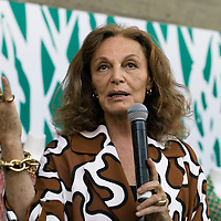 """Beijing, April,2, 2011 : .Diane von Furstenberg  speaks to Chinese media during a press conference before the opening of her """" Journey of a Dress exhibition""""."""