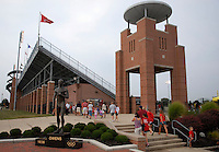 Fans enter Jesse Owens Memorial Stadium before Ohio State takes on the University of North Carolina in an NCAA women's college soccer game in Columbus, Ohio on Sunday, Sept. 4, 2011, at Jesse Owens Memorial Stadium.