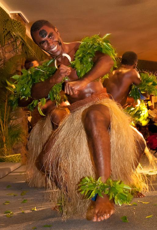 Fijian dancer during Meke at Naviti Resort, Coral Coast, Viti Levu, Fiji.