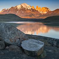 South America; Patagonia; Chile; Región de Magallanes y de la Antártica,Torres del Paine; National Park; UNESCO; World Heritage, first light on the torres