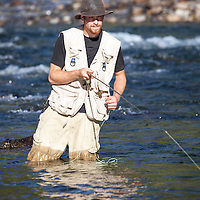 WA09156-00...WASHINGTON - Fly fishing on the Middle Fork of the Snoqualme River near North Bend. (MR# J9)