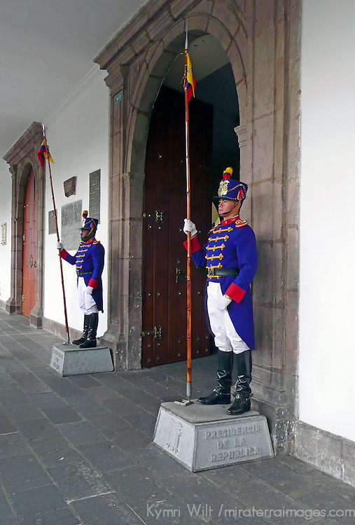Americas, South America, Ecuador, Quito. Guards of the Archbishop's Palace in Quito.