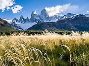 """Mount Fitz Roy (3405 meters or 11,170 feet) rises abruptly above grass and forest in the southern Andes mountains, near El Chaltén village, in Los Glaciares National Park, Argentina, South America. In 1877, explorer Perito Moreno named """"Cerro Fitz Roy"""" for Robert FitzRoy (no space before the capital R) who, as captain of the HMS Beagle, had travelled up the Santa Cruz River in 1834 and charted much of the Patagonian coast. First climbed in 1952 by French alpinists Lionel Terray and Guido Magnone, Mount Fitz Roy has very fickle weather and is one of the world's most challenging technical ascents. It is also called Cerro Chaltén, Cerro Fitz Roy, and Monte Fitz Roy (with a space before the R). Chaltén comes from a Tehuelche (Aonikenk) word meaning """"smoking mountain"""" (explained by frequent orographic clouds). Cerro is a Spanish word meaning hill. El Chaltén village was built in 1985 by Argentina to help secure the disputed border with Chile, and now tourism supports it, 220 km north of the larger town of El Calafate. The foot of South America is known as Patagonia, a name derived from coastal giants, Patagão or Patagoni, who were reported by Magellan's 1520s voyage circumnavigating the world and were actually Tehuelche native people who averaged 25 cm (or 10 inches) taller than the Spaniards. Mount Fitz Roy is the basis for the Patagonia company's clothing logo, after Yvon Chouinard's ascent and subsequent film in 1968. Published in """"Light Travel: Photography on the Go"""" by Tom Dempsey 2009, 2010."""