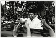 Susilio Bambang Yudhoyono (SBY) greets supporters while attending Friday Prayer August 2004 Jakarta Indonesia