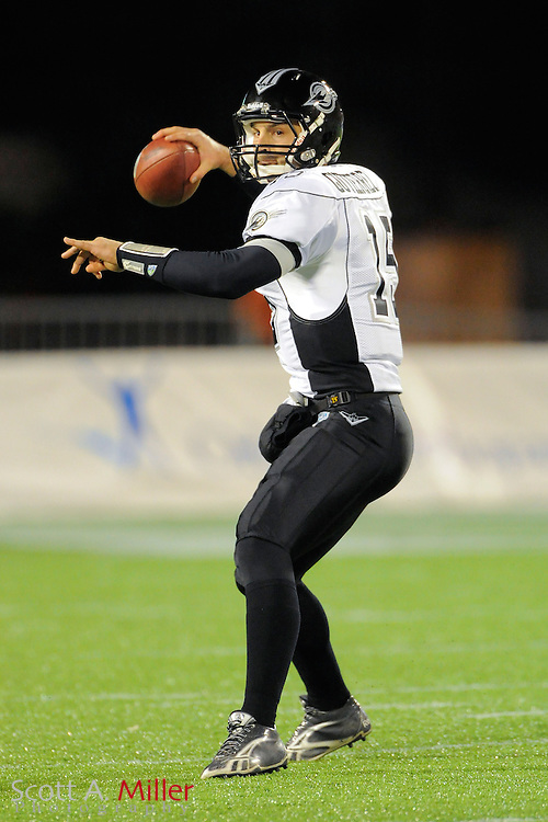 Omaha Nighthawks quarterback Matt Gutierrez (15) during the Nighthawks game against the Florida Tuskers at the Florida Citrus Bowl on November 4, 2010 in Orlando, Florida. Florida won the game 31-14...©2010 Scott A. Miller..(AP Photo/Scott A. Miller)