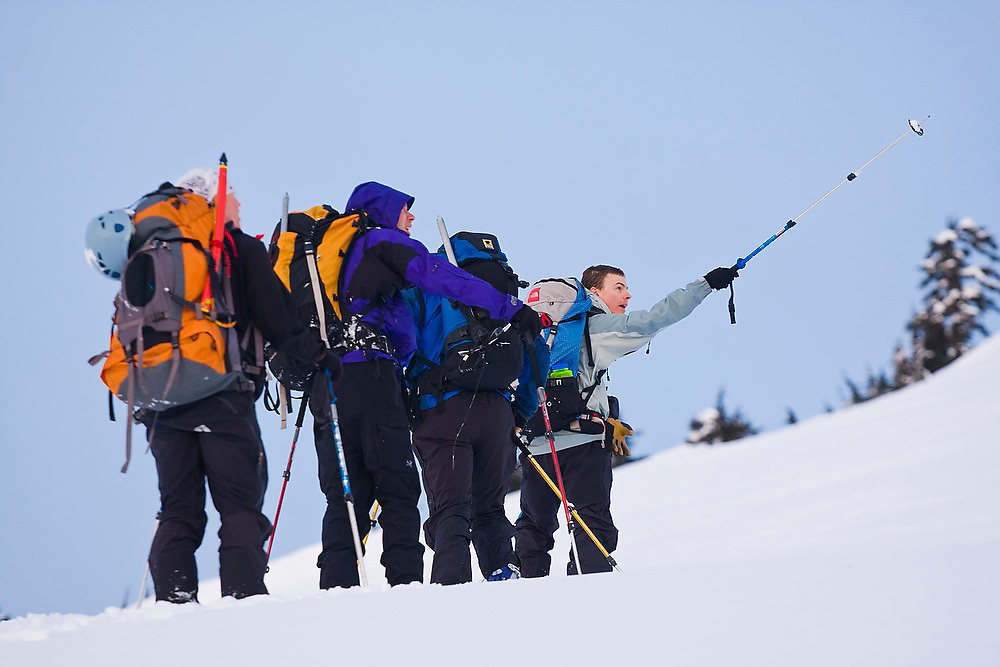 Nathan Kurz discusses possible ascent routes to Little Diamond Head with other members of the University of Washington Climbing Club in Garibaldi Provincial Park, British Columbia, Canada.