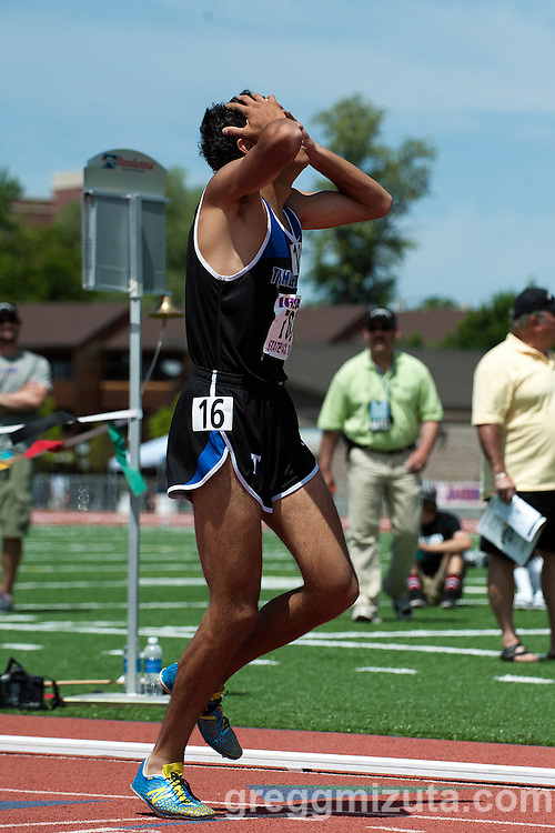Timberline senior Andrew Rafla wins the Idaho State Track & Field Championship 5A 1600 meter run at Dona Larsen Park, Boise, Idaho on May 16, 2014. Rafia's winning time (4:10.33) set a new 5A classification record.