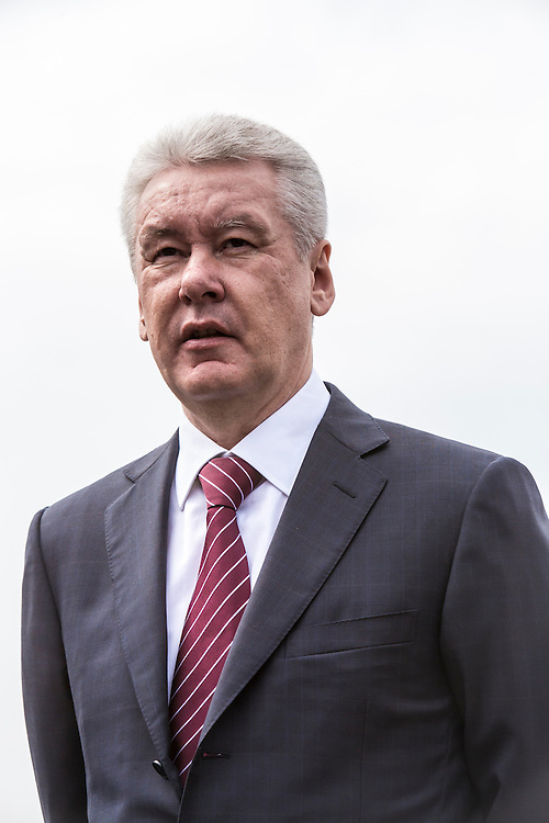 Moscow Mayor Sergei S. Sobyanin makes a statement to reporters during a campaign appearance with Kirill I, patriarch of the Russian Orthodox Church, on Thursday, August 29, 2013 in Moscow, Russia.