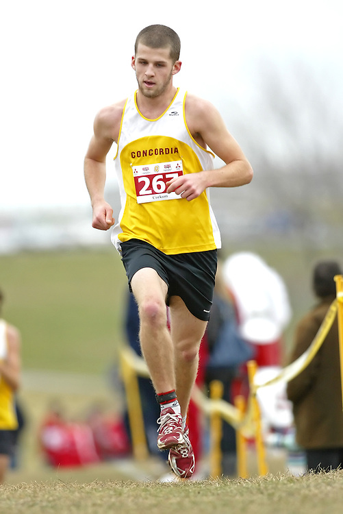 (Kingston, Ontario -- 14 Nov 2009)  LUCAS CORKUM of the Concordia University runs to 127 place at the  2009 Canadian Interuniversity Sport CIS Cross Country Championships at Forth Henry Hill in Kingston Ontario. Photograph copyright Sean Burges / Mundo Sport Images, 2009.