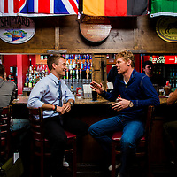 ORLANDO, FL -- Former soccer players and ESPN analysts Alexi Lalas and Taylor Twellman talk US soccer at the Cricketers Arms Pub & Eatery in Orlando, Florida.  (PHOTO / CHIP LITHERLAND)