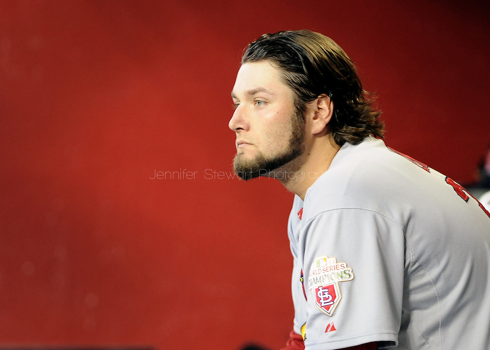 May. 7, 2012; Phoenix, AZ, USA; St. Louis Cardinals pitcher Lance Lynn (31) sits in the dugout while playing against the Arizona Diamondbacks at Chase Field. The Cardinals defeated the Diamondbacks 9-6. Mandatory Credit: Jennifer Stewart-US PRESSWIRE